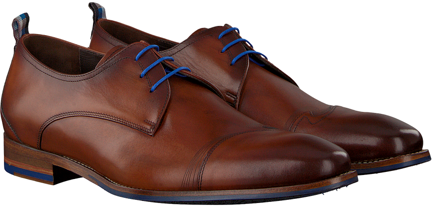 Cognacfarbene FLORIS VAN BOMMEL Business Schuhe 18006 - larger