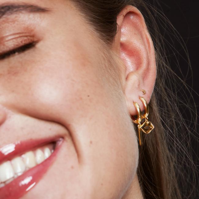 Goldfarbene ALLTHELUCKINTHEWORLD Ohrringe SOUVENIR EARRINGS LIPS - large