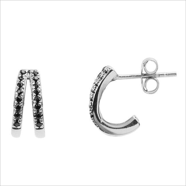Silberne ATLITW STUDIO Ohrringe BLISS EARRINGS 2 SPLIT ONYX ZI  - large
