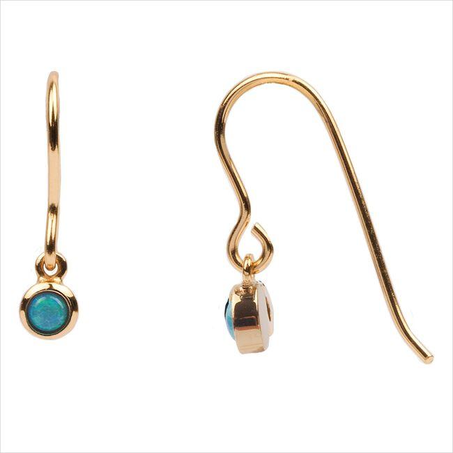 Goldfarbene ATLITW STUDIO Ohrringe BLISS EARRINGS HOOK BLUE OPAL  - large