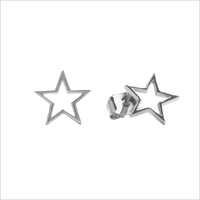 Silberne ALLTHELUCKINTHEWORLD Ohrringe PARADE EARRINGS OPEN STAR - medium