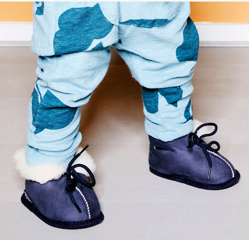Blaue BERGSTEIN Babyschuhe PANDA  - larger