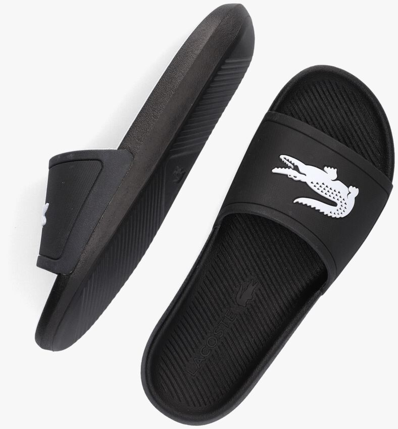 Schwarze LACOSTE Pantolette CROCO SLIDE  - larger
