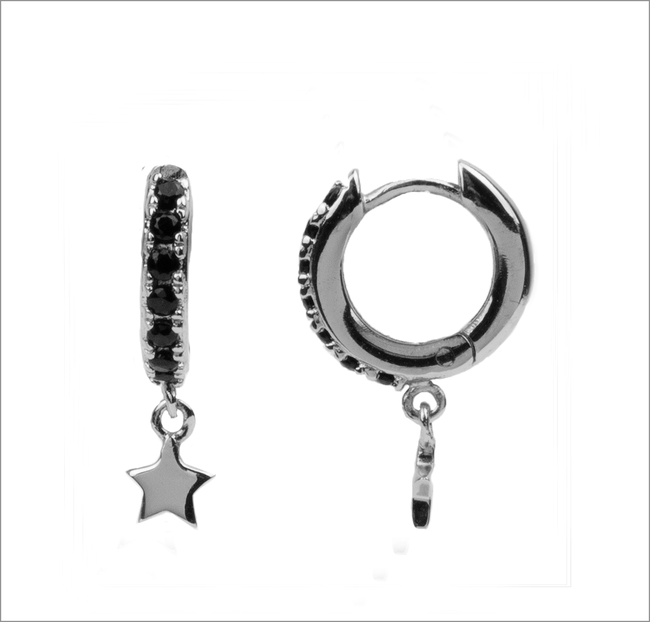 Silberne ATLITW STUDIO Ohrringe BLISS EARRINGS CREOLE STARRY  - large