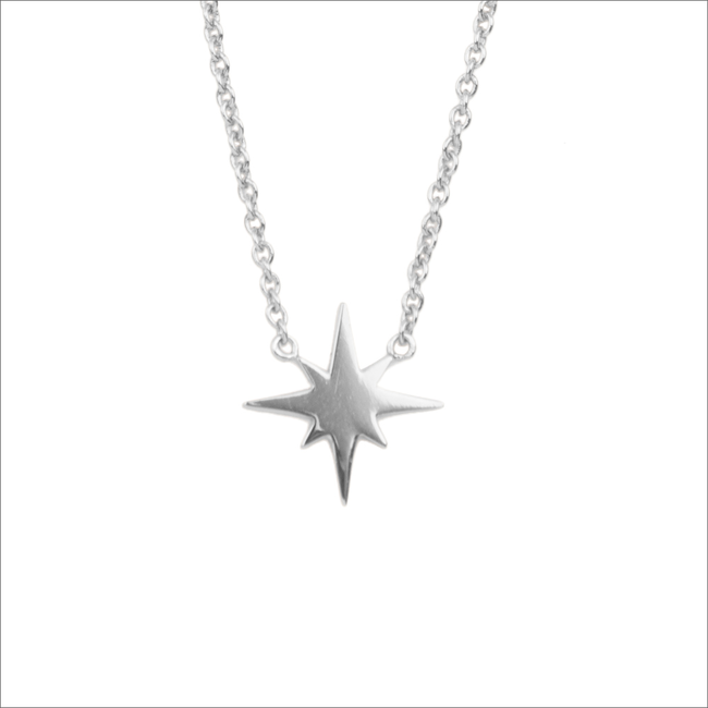 Silberne ALLTHELUCKINTHEWORLD Kette SOUVENIR NECKALCE STAR BURST - large