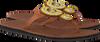 Cognacfarbene OMODA KUBUNI Zehentrenner SLIPPER FLOWER - small