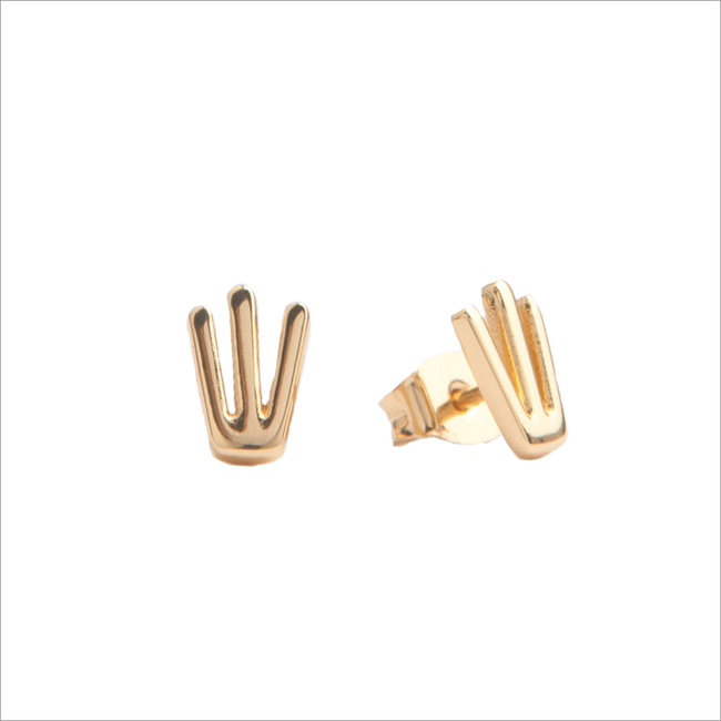Goldfarbene ALLTHELUCKINTHEWORLD Ohrringe PARADE EARRINGS TRIDENT - large