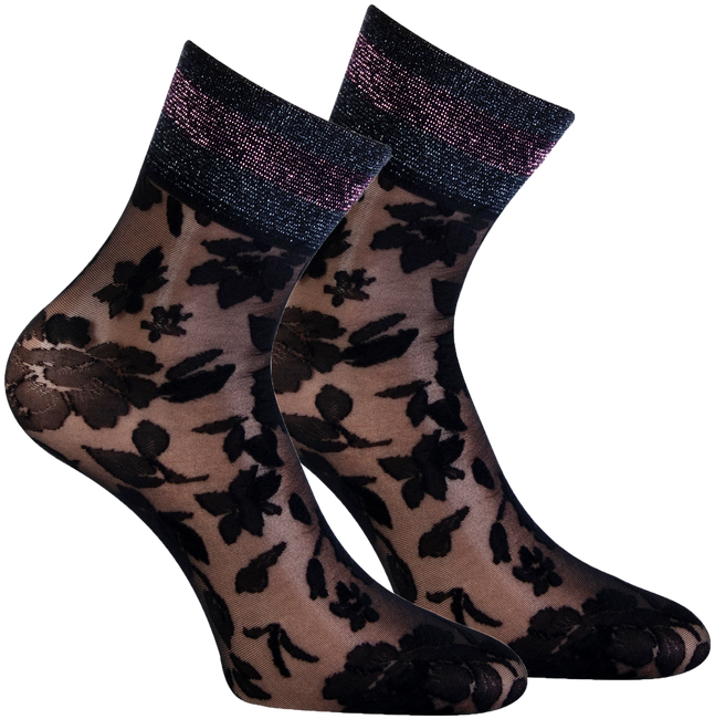 Schwarze MARCMARCS Socken PIZZO FLOWER  - large