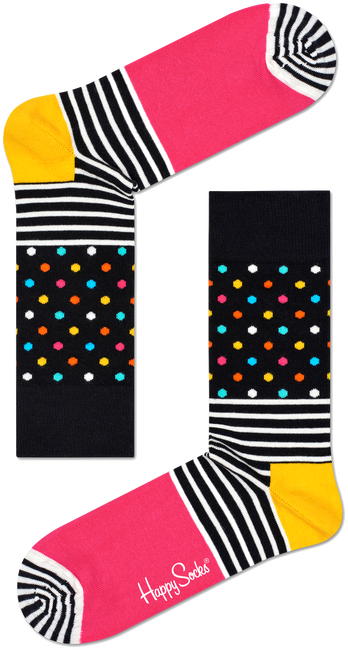 Schwarze HAPPY SOCKS Socken STRIPES & DOT SOCK - large