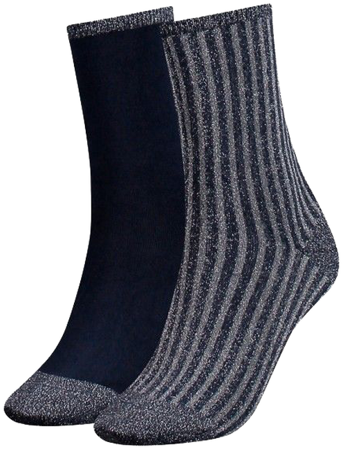 Graue TOMMY HILFIGER Socken TH WOMEN VERTICAL LUREX - large