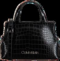 Schwarze CALVIN KLEIN Handtasche NEAT CROC TOTE MINI  - medium
