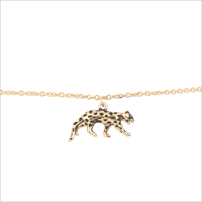 Goldfarbene ALLTHELUCKINTHEWORLD Armband SOUVENIR BRACELET LEOPARD - large
