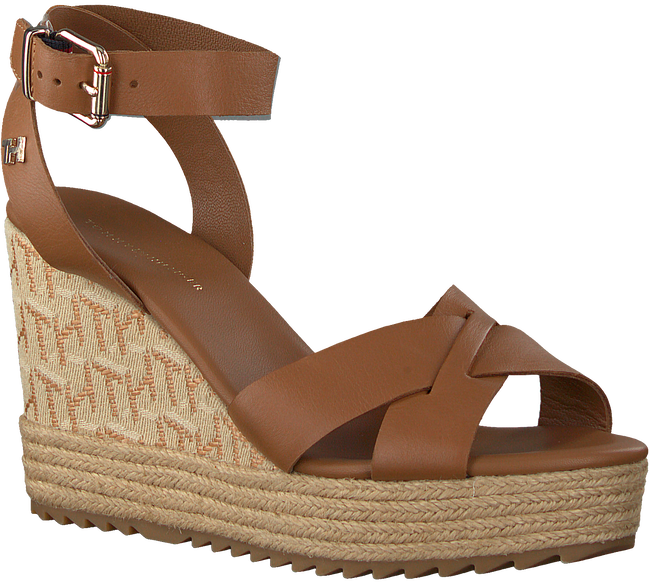 Cognacfarbene TOMMY HILFIGER Sandalen TH RAFFIA HIGH WEDGE  - large