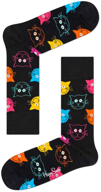 Schwarze HAPPY SOCKS Socken CAT - large