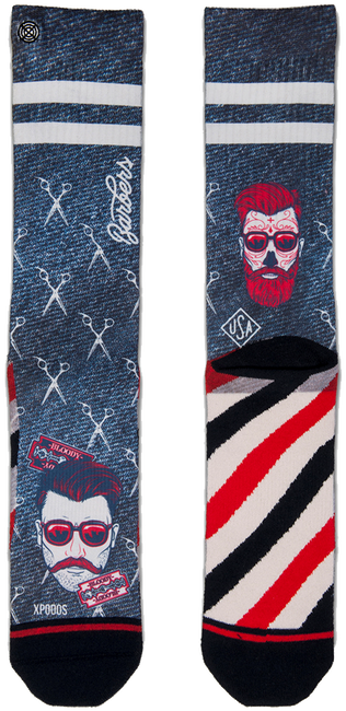 Schwarze XPOOOS Socken BARBERSHOP - large