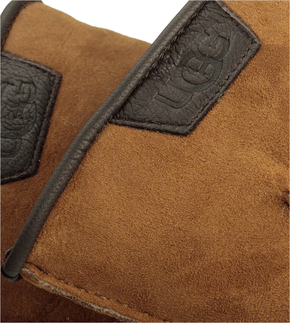 Cognacfarbene UGG Handschuhe CASUAL GLOVE WITH LEATHER LOGO - large