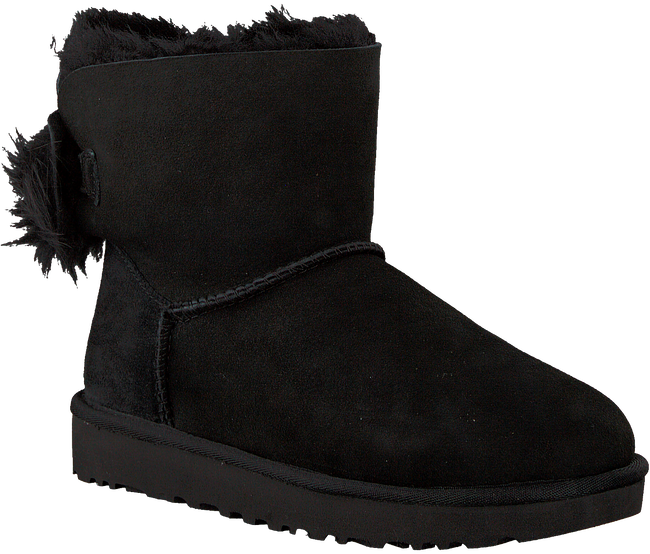 Schwarze UGG Ankle Boots FLUFF BOW MINI - large