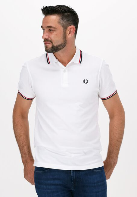 Weiße FRED PERRY Polo-Shirt TWIN TIPPED PRED PERRY SHIRT  - large