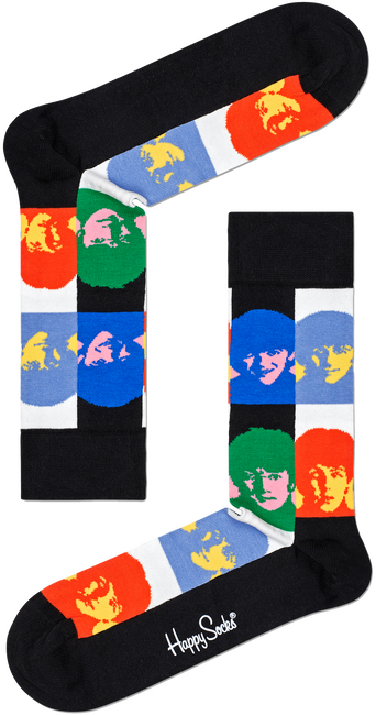 Weiße HAPPY SOCKS Socken BEATLES ALL TOGETHER NOW SOCK  - large