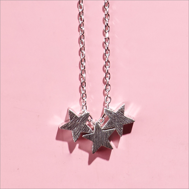 Silberne ALLTHELUCKINTHEWORLD Kette FORTUNE NECKLACE THREE STARS - large
