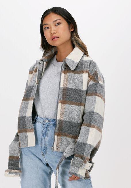 Nicht-gerade weiss NA-KD Jack BELTED SHORT CHECKED JACKET  - large