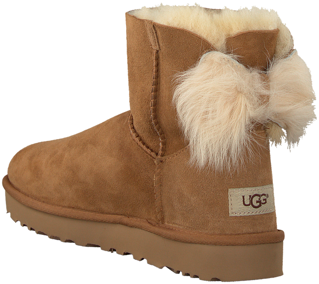 Camelfarbene UGG Ankle Boots FLUFF BOW MINI - large