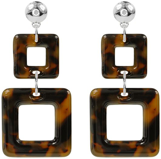 Braune MY JEWELLERY Ohrringe DOUBLE SQUARE EARRINGS - large
