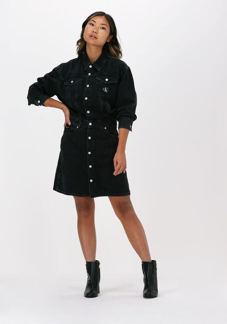 Schwarze CALVIN KLEIN Minikleid A-LINE DENIM JACKET DRESS - large