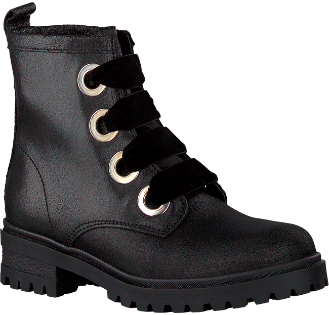 Schwarze TOMMY HILFIGER Schnürboots METALLIC CLEATED LACE UP BOOT - large