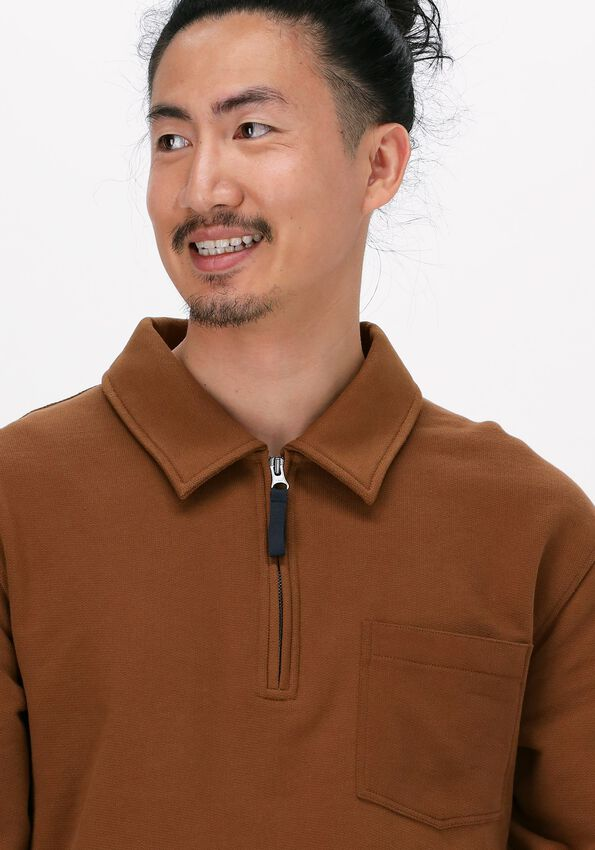 Braune SELECTED HOMME Pullover SLHRELAXREID HALF ZIP SWEAT W - larger