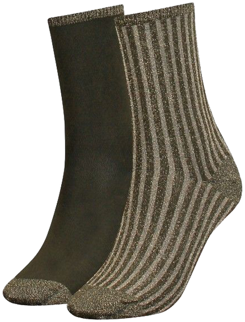 Grüne TOMMY HILFIGER Socken TH WOMEN VERTICAL LUREX - large