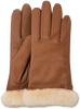 Cognacfarbene UGG Handschuhe CLASSIC LEATHER SMART GLOVE - small