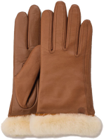 Cognacfarbene UGG Handschuhe CLASSIC LEATHER SMART GLOVE - medium