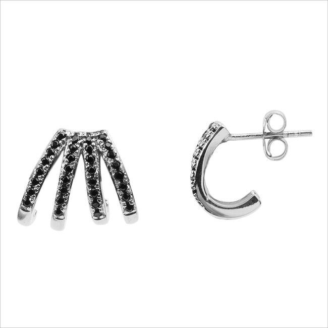 Silberne ATLITW STUDIO Ohrringe BLISS EARRINGS 4 SPLIT BLACK O  - large