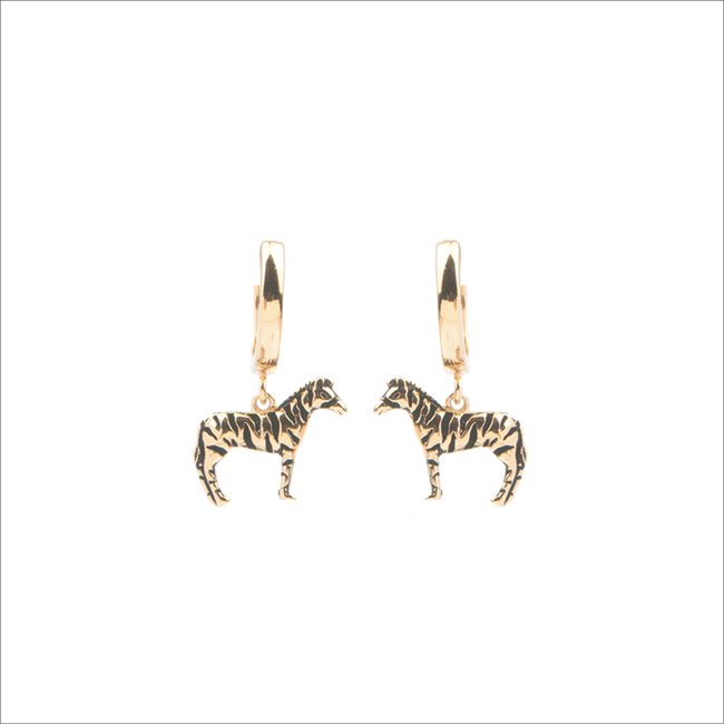 Goldfarbene ALLTHELUCKINTHEWORLD Ohrringe SOUVENIR EARRINGS ZEBRA - large